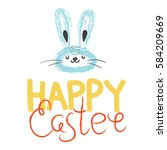 happy easter greeting card ... | Shutterstock .eps vector #584209669