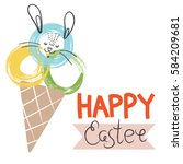 happy easter greeting card ... | Shutterstock .eps vector #584209681
