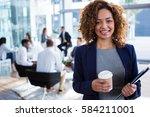 portrait of smiling... | Shutterstock . vector #584211001