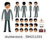 smart businessman character... | Shutterstock .eps vector #584211331