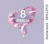 women day background with frame ... | Shutterstock .eps vector #584212915