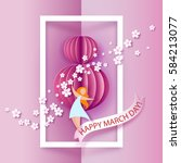 Card for 8 March women day. Abstract pink background with text and flowers .Vector illustration. Paper cut and craft style.
