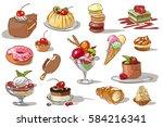 doodle set with sweet desserts. ...   Shutterstock .eps vector #584216341