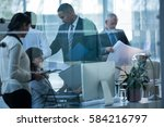 businesspeople working together ... | Shutterstock . vector #584216797