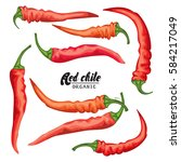 cartoon chile pepper. ripe... | Shutterstock . vector #584217049