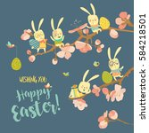 funny easter bunnies with... | Shutterstock .eps vector #584218501