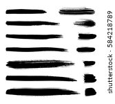 collection of black ink brush... | Shutterstock .eps vector #584218789
