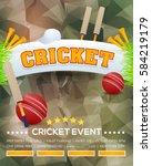 cricket event poster background ... | Shutterstock .eps vector #584219179