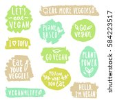 grunge vegan labels. vector... | Shutterstock .eps vector #584223517