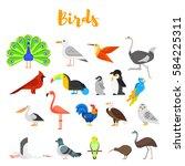 vector flat style set of birds. ... | Shutterstock .eps vector #584225311