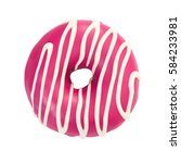 Donut With Pink Icing And White ...