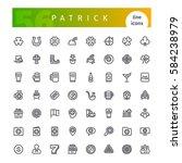 set of 56 st patricks day line... | Shutterstock .eps vector #584238979
