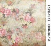 vintage shabby grunge flowers...   Shutterstock . vector #584246575