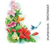 arrangement from tropical... | Shutterstock .eps vector #584246665