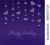 purple background with hearts.... | Shutterstock .eps vector #584247715