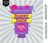 super sale paper banner. 50 ... | Shutterstock .eps vector #584256259
