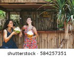 two young women friends...   Shutterstock . vector #584257351