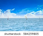 the sailboat  on ocean water... | Shutterstock . vector #584259805
