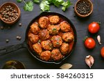 meatballs with tomato sauce and ... | Shutterstock . vector #584260315