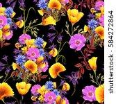 seamless pattern of summer...   Shutterstock . vector #584272864