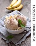 vanilla ice cream with banana...   Shutterstock . vector #584273761