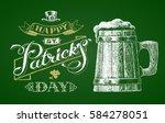 st. patricks day. wooden beer... | Shutterstock .eps vector #584278051