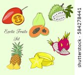 exotic fruits and leaves set on ... | Shutterstock .eps vector #584278441