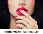 woman touching her lips her... | Shutterstock . vector #584281039