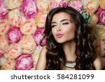 beautiful brunette model... | Shutterstock . vector #584281099