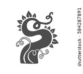 doodle sprout and plant logo... | Shutterstock .eps vector #584287891