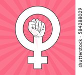 symbol of feminist movement.... | Shutterstock .eps vector #584288029