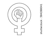 symbol of feminist movement.... | Shutterstock .eps vector #584288041