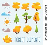 cartoon trees isolated on a... | Shutterstock .eps vector #584290495