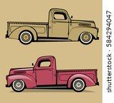 retro pickup truck. vector... | Shutterstock .eps vector #584294047