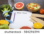 food and sheet of paper with a... | Shutterstock . vector #584296594