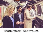 group of people on the platform ... | Shutterstock . vector #584296825
