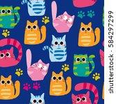 Set Of Vector Cats Depicting...