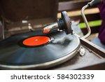 old phonograph vintage vinyl... | Shutterstock . vector #584302339