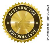 best practices gold label with... | Shutterstock . vector #584302525