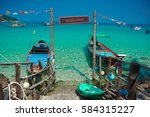 beautiful view with boats and... | Shutterstock . vector #584315227