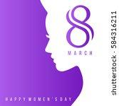 happy women's day women face...   Shutterstock .eps vector #584316211