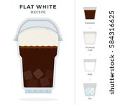 flat white coffee recipe in... | Shutterstock .eps vector #584316625