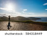 tourist woman and the view of... | Shutterstock . vector #584318449
