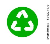 green recycling sign in circle... | Shutterstock .eps vector #584327479