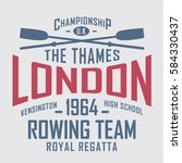 rowing sport london typography  ... | Shutterstock .eps vector #584330437