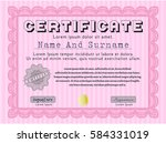 pink awesome certificate... | Shutterstock .eps vector #584331019