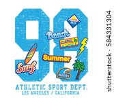 athletic sport surf typography  ... | Shutterstock .eps vector #584331304