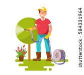 young man watering plants in ... | Shutterstock .eps vector #584331964
