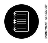 Notebook Circle Icon. Black ...