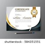 certificate template a4 size... | Shutterstock .eps vector #584351551